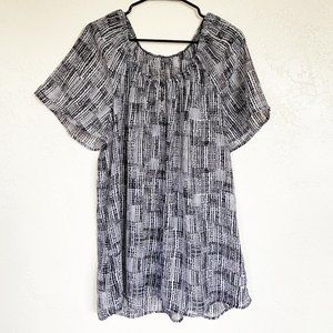 Tops - Sheer Black and White Blouse Tunic Beach Coverup